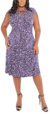 London Times Plus Size Dot-Print Cross-Neck Fit & Flare Dress