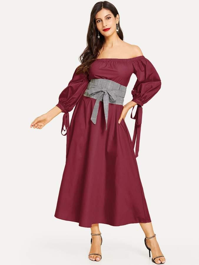 Shein Lantern Sleeve Bardot Dress with Plaid Obi Belt