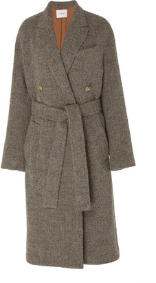 Vince Belted Double-Breasted Boucle Coat