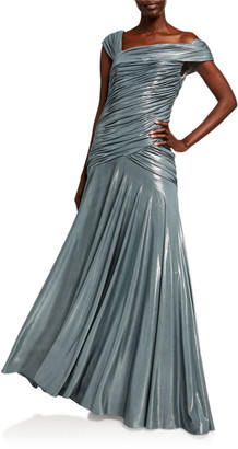 Rene Ruiz Collection Off-the-Shoulder Cap-Sleeve Shirred Gown