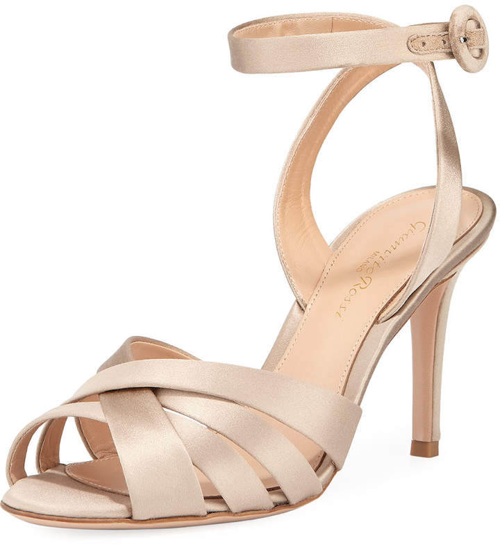Gianvito Rossi Strappy Satin Ankle-Wrap Sandal