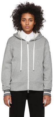 Moncler Grey Logo Patch Zip Hoodie