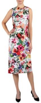 Donna Ricco Twisted Cutout-Neck Scuba Dress