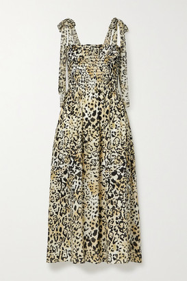 La Ligne Lou Shirred Leopard-print Silk-crepe De Chine Midi Dress - Leopard print