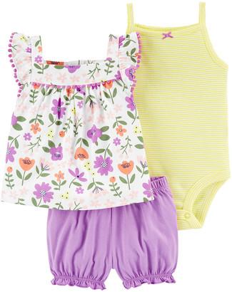 Carter's Girls' Infant Bodysuits Purple - Purple Bubble Bloomers Set - Infant