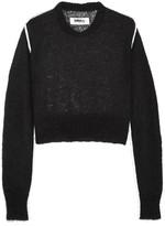MM6 MAISON MARGIELA Satin-trimmed mohair-blend sweater