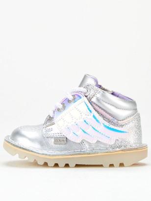 Kickers Girls Kick Hi Angelic Boots - Silver