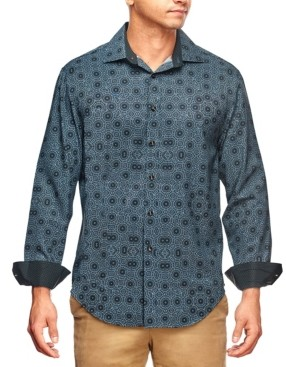 Tallia Men's Slim Fit Kaleidoscope Print Long Sleeve Shirt and a Free Face Mask