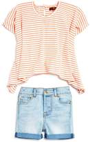 7 For All Mankind Girls' Ribbed Striped Flowy Tee & Denim Shorts Set - Baby