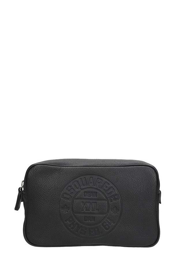 DSQUARED2 Black Leather Beauty-case Bag