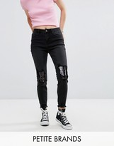 New Look Petite Sequin Knee Fray Hem Jeans