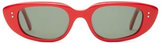 Celine Oval Acetate Sunglasses - Womens - Red