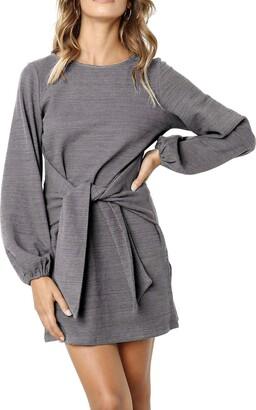 R.Vivimos Women Long Lantern Sleeve Knitwear Waist Tie Basic Pullover Jersey SweaterLarge