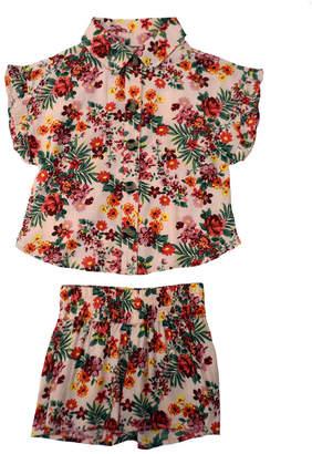 KensieGirl Woven Button Up Top & Short Set