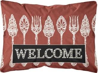 Caroline's Treasures Serving Spoons Welcome Indoor/Outdoor Throw Pillow
