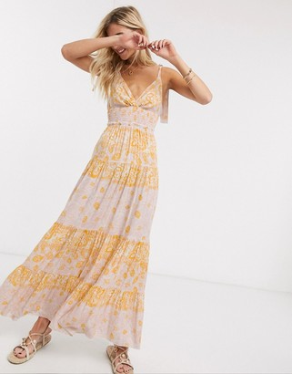 Free People let's smock about it printed maxi dress in pink