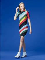 Diane von Furstenberg Short-Sleeve V-Neck Metallic Dress