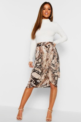 boohoo Petite Satin Snake Print Midi Skirt