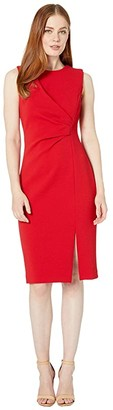 Calvin Klein Ruched Dress with Side Slit (Red) Women's Dress