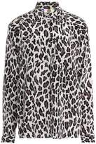 MSGM Leopard-Print Silk-Georgette Blouse