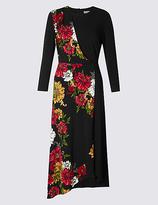 Per Una Floral Print 3/4 Sleeve Bodycon Midi Dress
