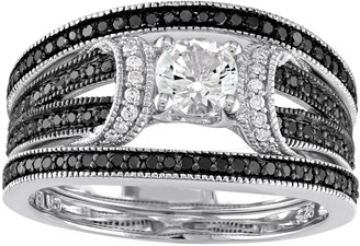 Stella Grace Sterling Silver 5/8 Carat T.W. Black & White Diamond & Lab-Created White Sapphire Engagement Ring Set
