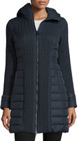 Post Card Mesa Cable-Quilted Puffer Coat, Navy