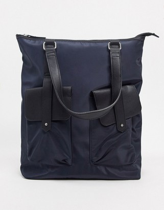Pieces nylon backpack and shoulder bag in navy