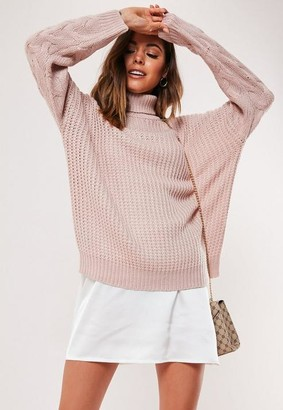 Missguided Petite Pink Turtle Neck Cable Sleeve Knit Sweater