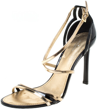 Louis Vuitton Black/Gold Patent Leather Open Toe Ankle Strap Sandals Size 40