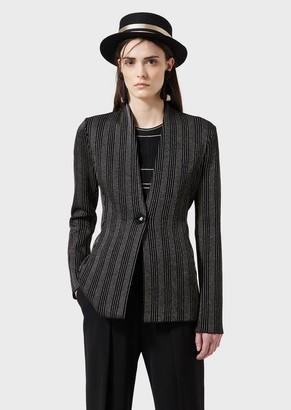 Giorgio Armani Striped Ottoman, Single-Breasted Jacket
