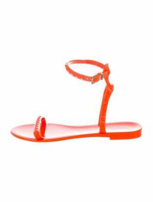 Valentino Rockstud Accents Rubber Sandals Orange