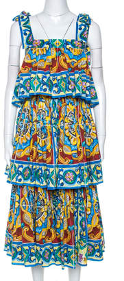 Dolce & Gabbana Multicolor Majolica Print Cotton Tiered Midi Dress M