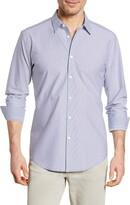Bugatchi Shaped Fit Stripe Button-Up Shirt