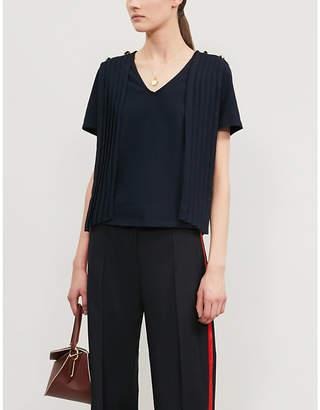 Claudie Pierlot Tie-collar cotton-jersey T-shirt
