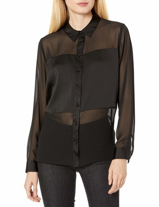 Vince Camuto Women's Button Down Chiffon Blouse with Hammer Satin Block