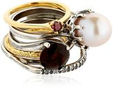 Iosselliani Puro Crystal, Pearl & Garnet Rings