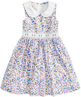 Bonnie Jean Floral-Print Smocked-Waist Dress, Little Girls