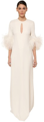Elie Saab Long Cady Dress W/ Feather Details