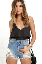 LuLu*s Steal Some Sun Washed Black Suede Bodysuit