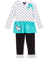Teal Dot Terrier Tunic & Leggings - Girls
