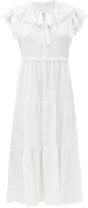 See by Chloe Ruffled Cotton-voile Midi Dress - White