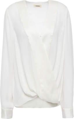 L'Agence Kyla Wrap-effect Satin-trimmed Silk-crepe Blouse
