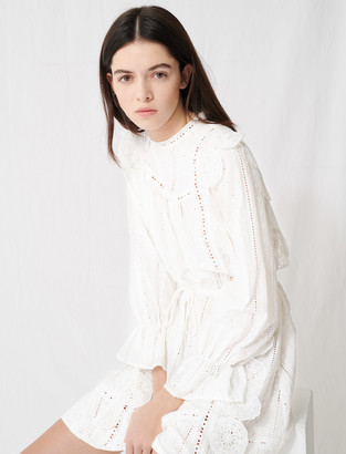 Maje White dress with broderie anglaise