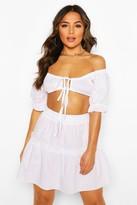 boohoo Petite Cotton Poplin Bralet & Skater Skirt Co-Ord