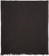Rick Owens Black Merino Wool Blanket Scarf