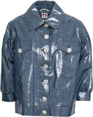 Shrimps Crystal-embellished Coated Cotton-blend Jacket