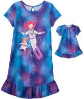 "Girls 4-16 SO® ""I Love Meowter Space"" Dorm Nightgown & Doll Gown Set"