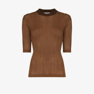 Ganni Cropped Sleeve Rib Knit Sweater