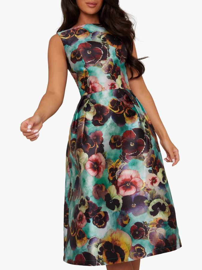 Chi Chi London Alyssa Floral Print Boat Neck Flared Dress, Teal/Multi